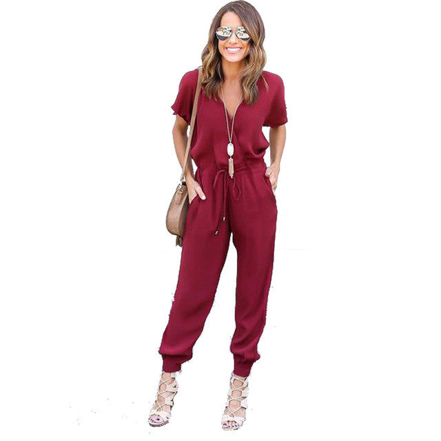 Sexy V Neck Jumpsuit -Extended Sizes!