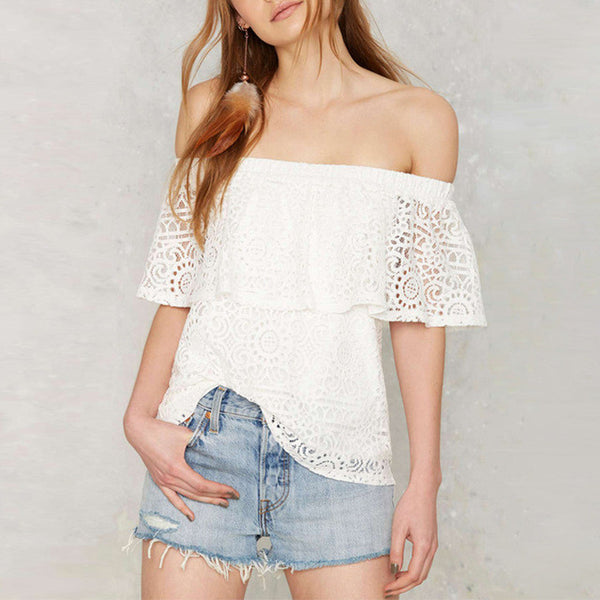 Off Shoulder Ruffle Sleeve Lace Blouse