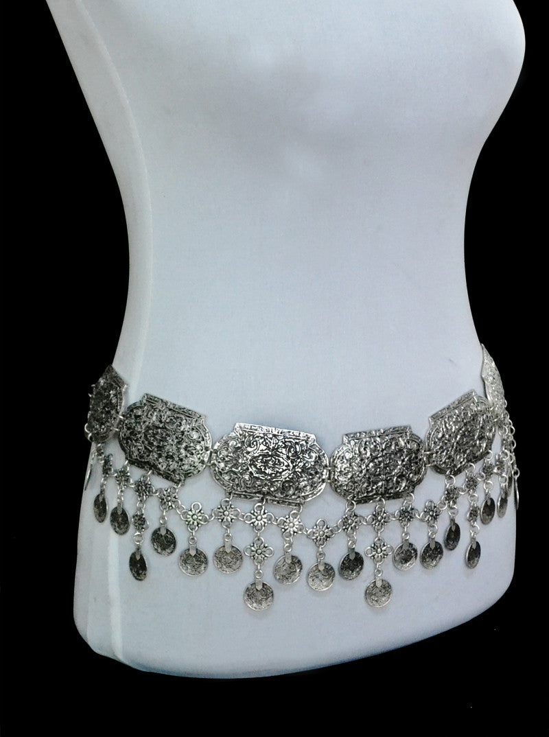 Turkish Gypsy Brinco Silver Boho Coin Belt