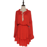 Boho Deep V-neckline Ruffled Hem Dress - Sassy Posh - 10