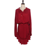 Boho Deep V-neckline Ruffled Hem Dress - Sassy Posh - 8