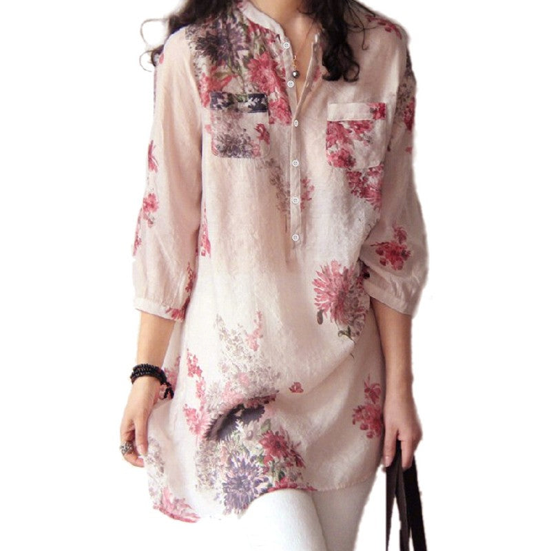 Floral Print 3/4 Sleeve Tunic Top-Extended Sizes M-3XL