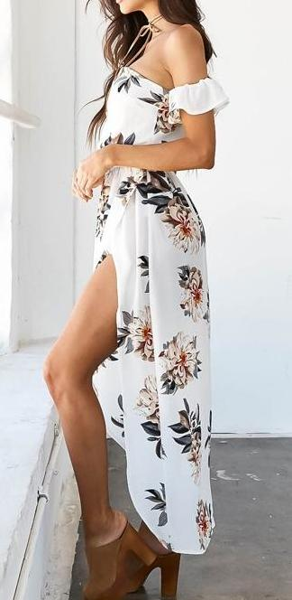 Side split Wrap Skirt Maxi Dress