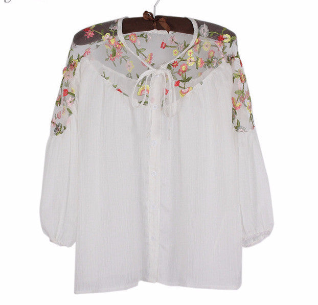 Mesh Embroidery Lantern Sleeve Chiffon top