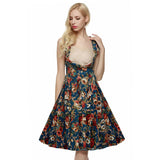 Vintage 1950s V-Neck High Waist Sleeveless Midi Dress