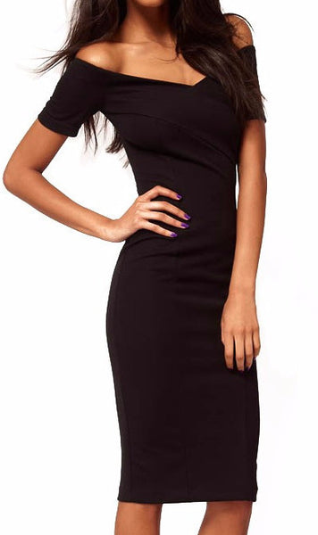 Off Shoulder V neck LBD - Sassy Posh - 1