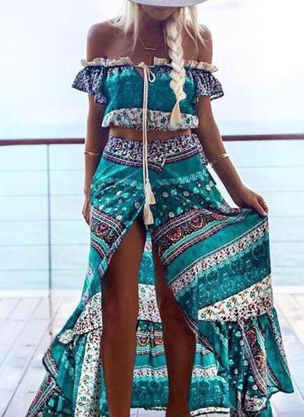 Floral Printed Side Split Two Piece Dress Off Shoulder Maxi Dress