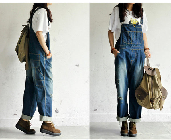 Roomy Denim Overalls - Sassy Posh - 4