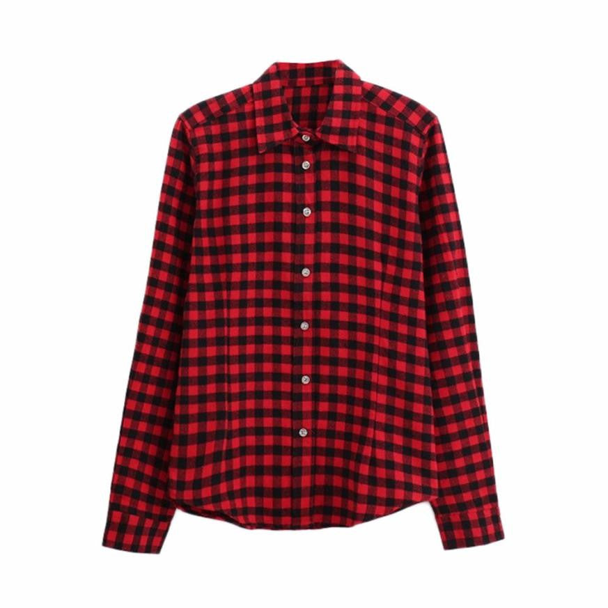 Long Sleeve Plaid Shirt -Extended Sizes to 5XL!