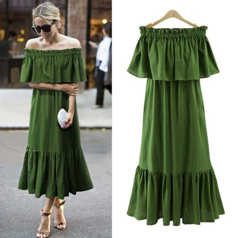 Ruffle neck Long Maxi Off Shoulder Dress