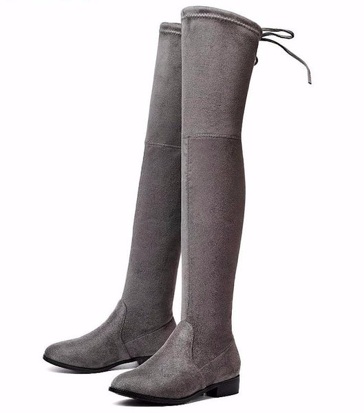 Lace Up Stretch Over The Knee Boots Square Low Heel