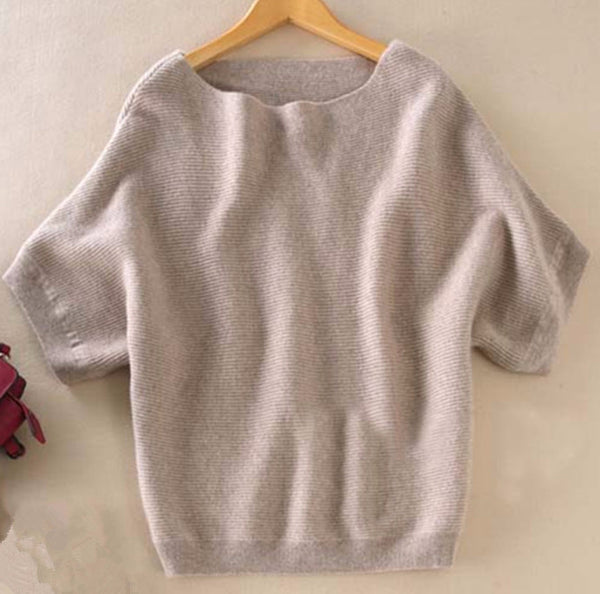 Cashmere short-sleeved knit Sweater - Sassy Posh - 1