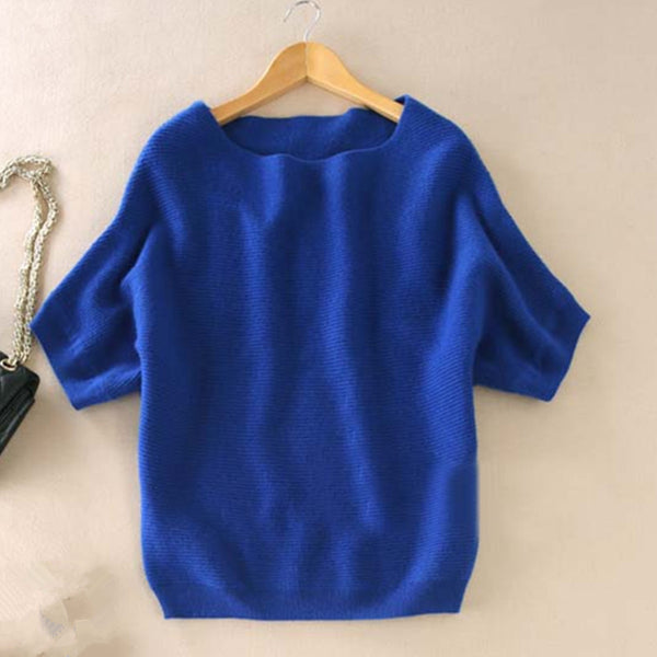 Cashmere short-sleeved knit Sweater - Sassy Posh - 7