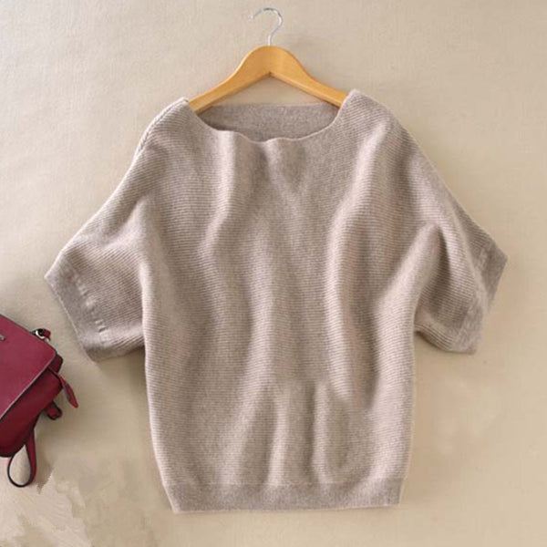 Cashmere short-sleeved knit Sweater - Sassy Posh - 6