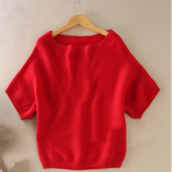 Cashmere short-sleeved knit Sweater - Sassy Posh - 3