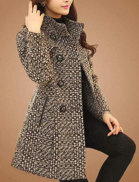 Wool Blend Tweed Coat