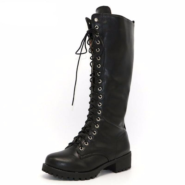 Riding Moto Knee High Lace Up Boots