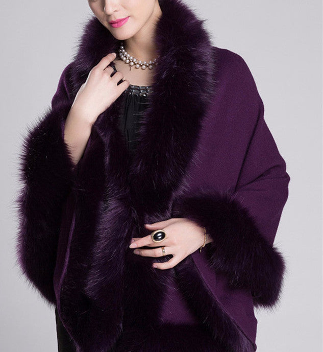Fox Fur Collar Cape - Sassy Posh - 3