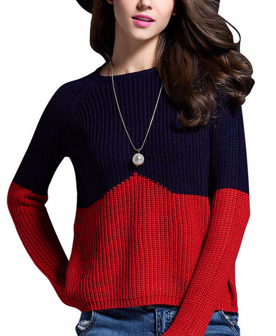 Contrast Color Splice Sweater - Sassy Posh - 1
