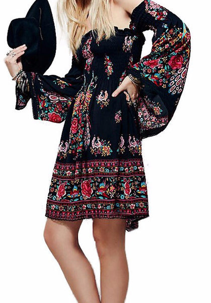 Bohemian off the shoulder Long Sleeve Dress - Sassy Posh - 1