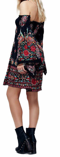 Bohemian off the shoulder Long Sleeve Dress - Sassy Posh - 2
