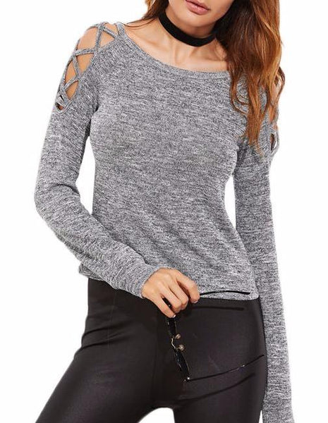 Crisscross Open Shoulder Long Sleeve T-shirt