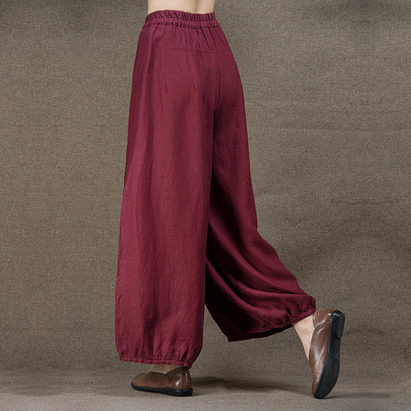 Linen Embroidery Wide Leg Pants - Sassy Posh - 3