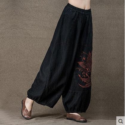 Linen Embroidery Wide Leg Pants - Sassy Posh - 4