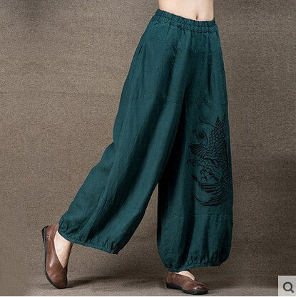 Linen Embroidery Wide Leg Pants - Sassy Posh - 5