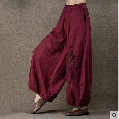 Linen Embroidery Wide Leg Pants - Sassy Posh - 1