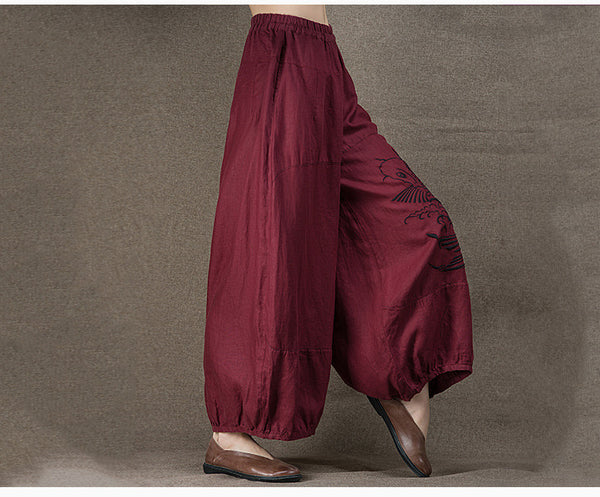 Linen Embroidery Wide Leg Pants - Sassy Posh - 6