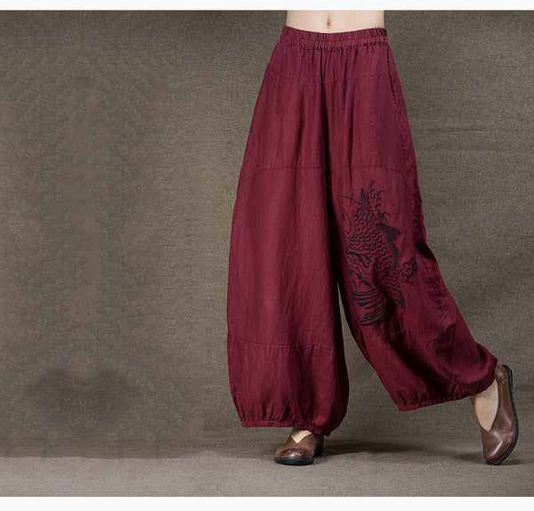 Linen Embroidery Wide Leg Pants - Sassy Posh - 9