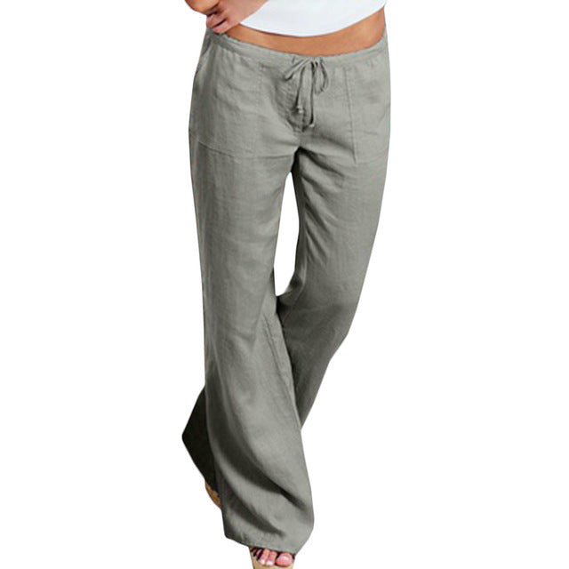 High Waist Linen Wide Leg Trousers