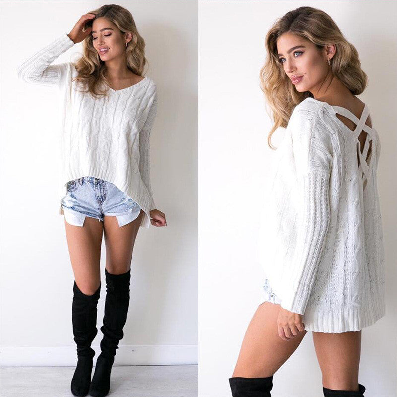 Oversized Criss cross Back sweater - Sassy Posh - 2