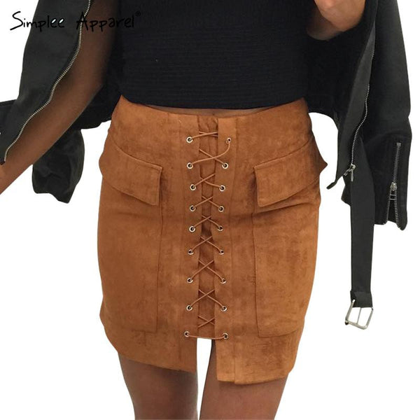 Lace Up Suede Skirt - Sassy Posh - 1