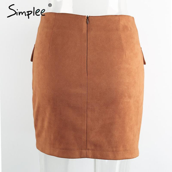 Lace Up Suede Skirt - Sassy Posh - 8
