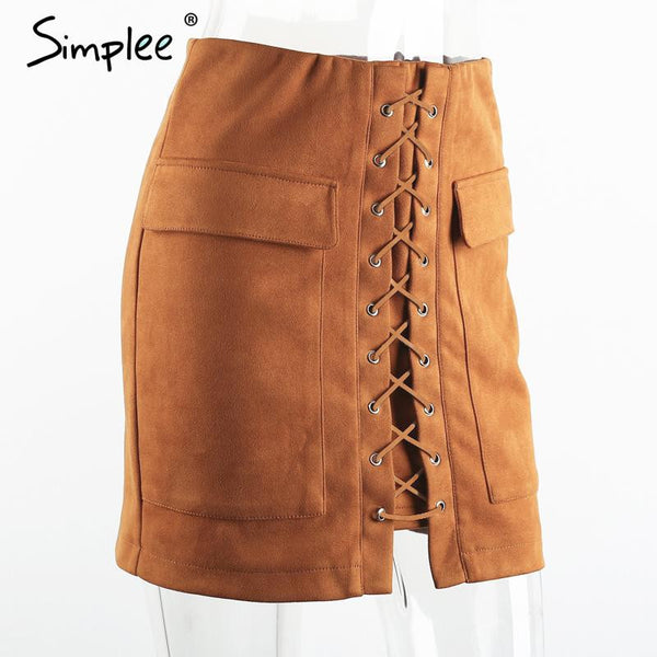 Lace Up Suede Skirt - Sassy Posh - 6