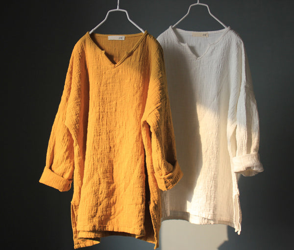 Soft Cotton Linen Long Sleeve V-Neck Tunic