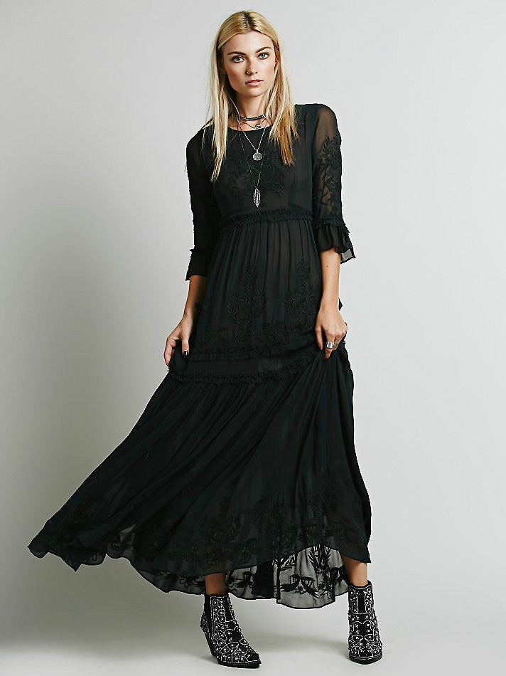 Bohemian embroidery maxi dress