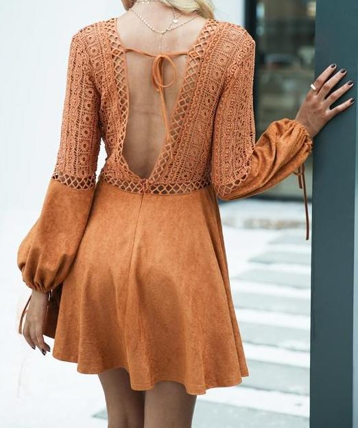 V neck suede & lace Backless dress