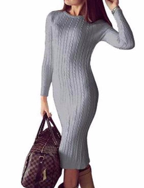 Bodycon Knit Sweater Midi Dress