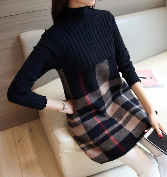 Plaid Patchwork Wool Sweater Dress