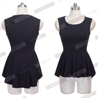New Peplum Frill Hem Sleeveless Lady Bodycon Tunic Women Casual Solid Color O Neck Tank Top Blouse With Loose Ruffles Tails 112 - Sassy Posh - 2