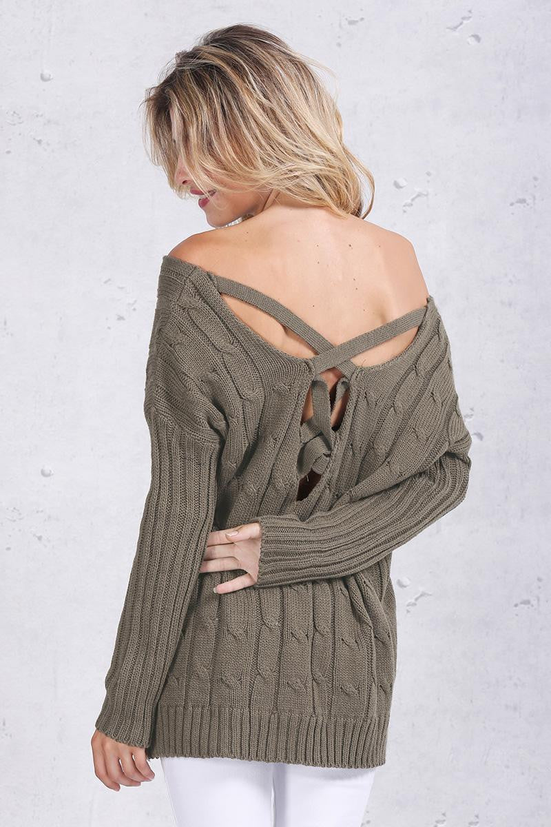 Oversized Criss cross Back sweater - Sassy Posh - 6