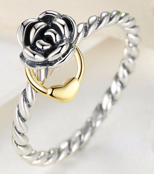 Sterling Silver Ring w/14K Gold Plated Heart Charm - Sassy Posh - 2