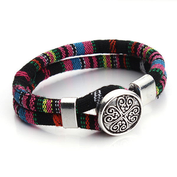 Cotton Cord Tibetan silver Flower Snap button bracelet