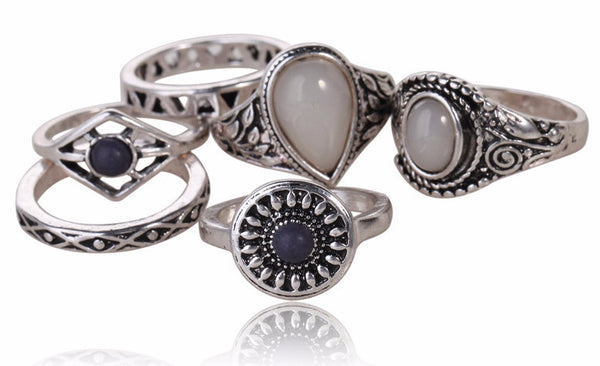 6pcs/set Boho Silver Rings - Sassy Posh - 1