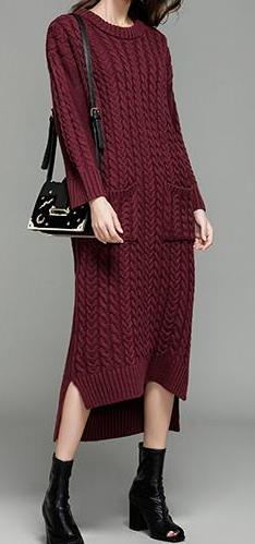 Long Full Sleeve Loose Sweater Dress