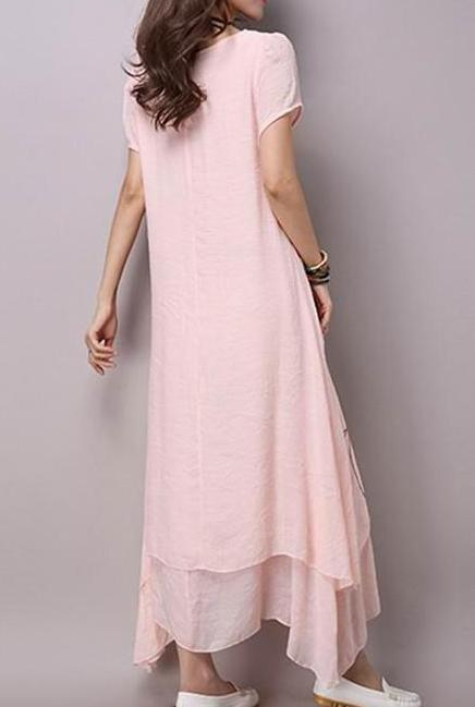 Cotton linen Summer Maxi Dress-Extended sizes