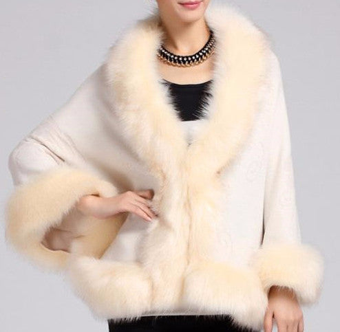 Fox Fur Collar Cape - Sassy Posh - 2